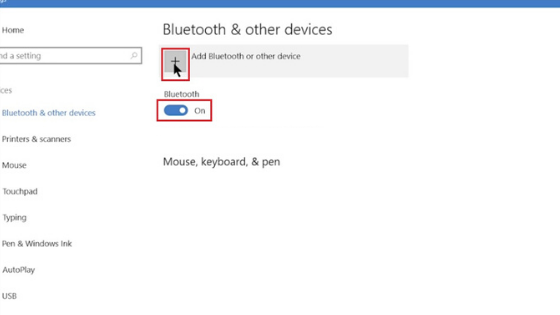 bluetooth setting windows 10