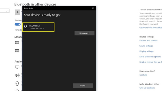 windows 10 device connected
