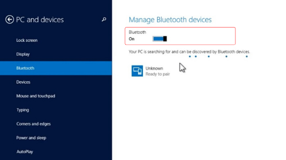windows 8 bluetooth setting